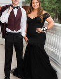 Hot Off-the-Shoulder Plus Size Prom Dress with Appliques Black Evening Gown - ericprom
