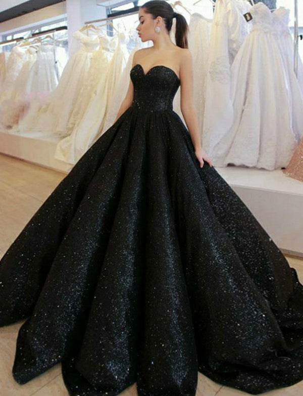 Sparkly Ball Gown Long Sweetheart Black Evening Gown with Sequin Prom Dress - ericprom