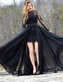 Pretty Jewel Long Sleeves Dark Navy Prom Dress with Belt Lace Evening Dress - ericprom