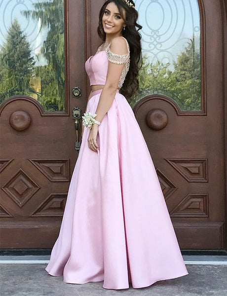 Pretty Two Piece Straps Long Pink Junior Prom Dress with Beading Evening Gown