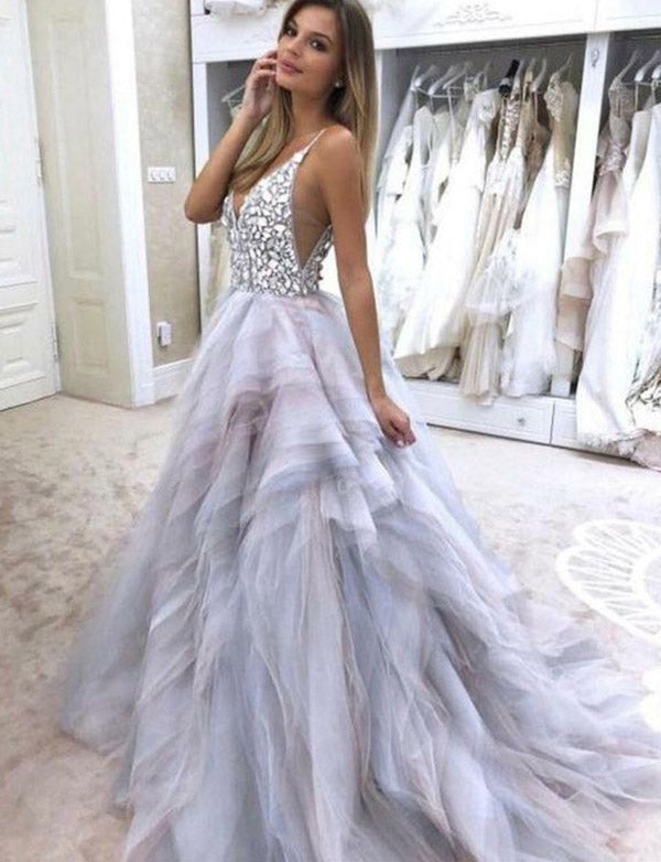 Spaghetti Straps Beading Prom Dress Lilac Open Back Long Evening Dress - ericprom