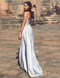 Spaghetti Straps Lavender Appliques Evening Dress Detachable Long Prom Dress - ericprom