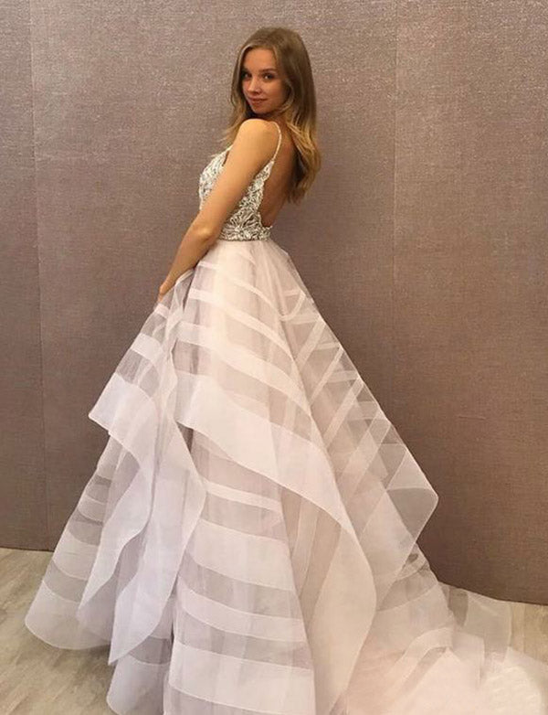 Stunning Crew Backless Prom Dress with Appliques Beading Evening Gown - ericprom