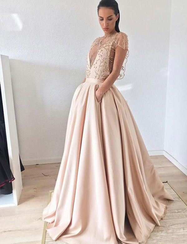 Cap Sleeves Champagne Prom Dress with Embroidery Beading Evening Gown - ericprom