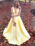 A-Line Deep Vneck Sweep Train Yellow Satin Prom Dress