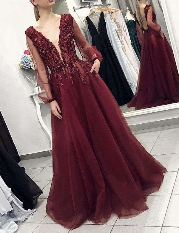 A-Line Vneck Backless Long Sleeves Burgundy Beaded Prom Dress with Pockets - ericprom