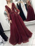 A-Line Vneck Backless Long Sleeves Burgundy Beaded Prom Dress with Pockets