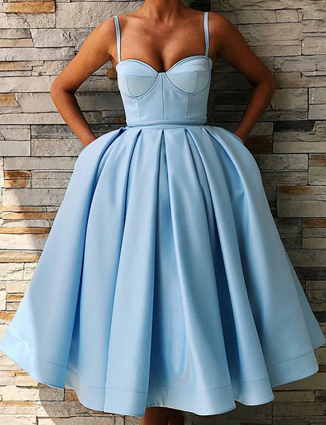 Ball Gown Spaghetti Straps Mid Calf Light Blue Prom Dress with Pockets