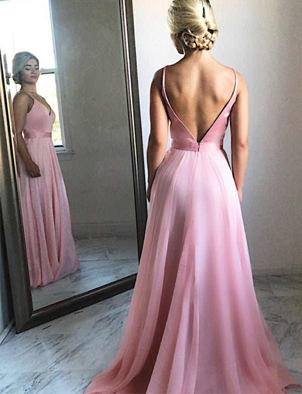 A-Line Spaghetti Straps Backless Sweep Train Pink Chiffon Prom Dress - ericprom