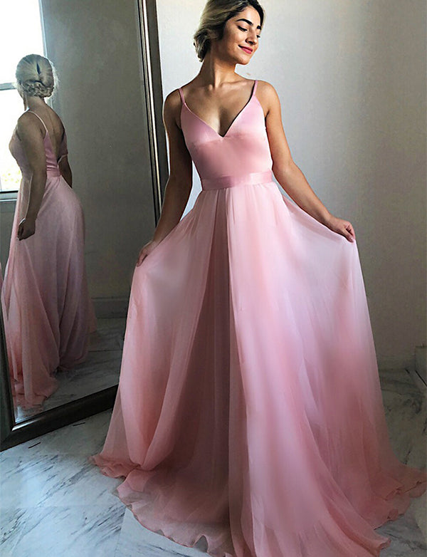 A-Line Spaghetti Straps Backless Sweep Train Pink Chiffon Prom Dress