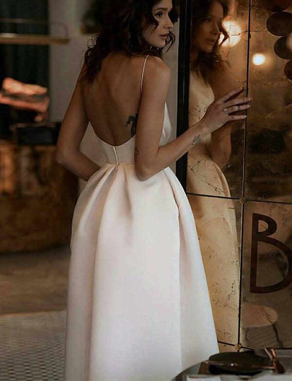 A-Line Spaghetti Straps Backless Tea-Length White Prom Dress with Pockets - ericprom