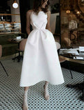 A-Line Spaghetti Straps Backless Tea-Length White Prom Dress with Pockets
