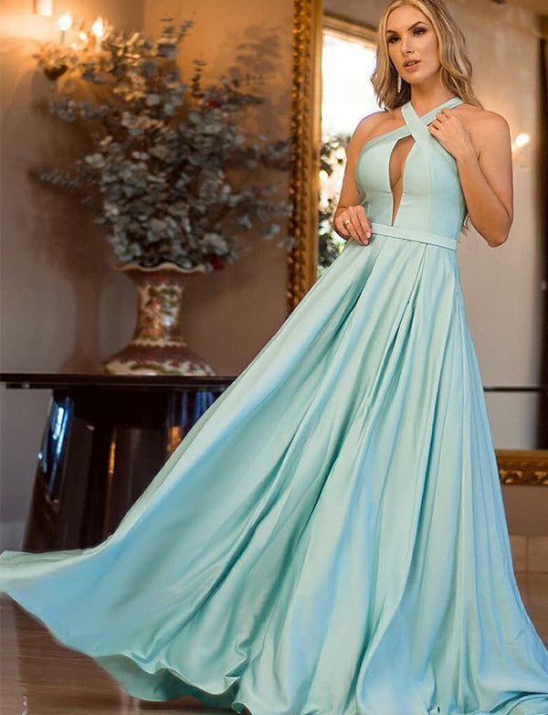 A-Line Cross Neck Floor-Length Mint Satin Prom Dress with Keyhole - ericprom