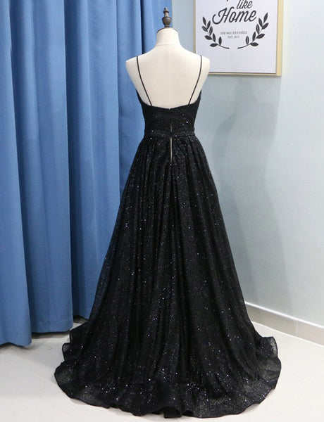Chic Spaghetti Straps Long Sequin  Prom Dress with Split Black Evening Derss