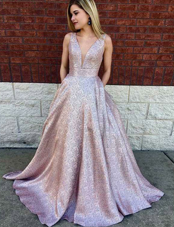 V-Neck Pink Prom Dress with Pockets Sequins Evening Gown - ericprom