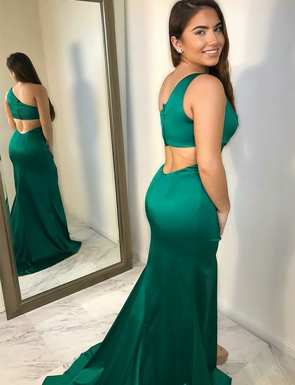 Unique Mermaid One Shoulder Long Satin Sleeveless Green Prom Dress with Split - ericprom