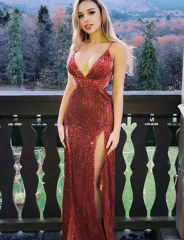 Sexy Spaghetti Straps Sleeveless A Line Maroon Sequin Prom Dress with Split - ericprom