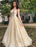 Elegant Long Evening Gown Sleeveless Tulle Sweetheart Champagne Prom Dress - ericprom
