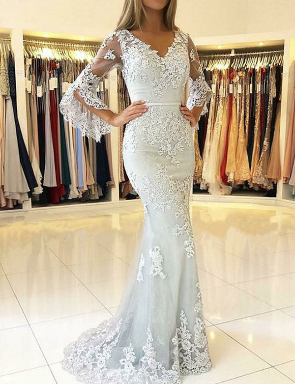 Fashion Long Sleeves V-Neck Prom Dress with Appliques Mermaid Evening Gown - ericprom