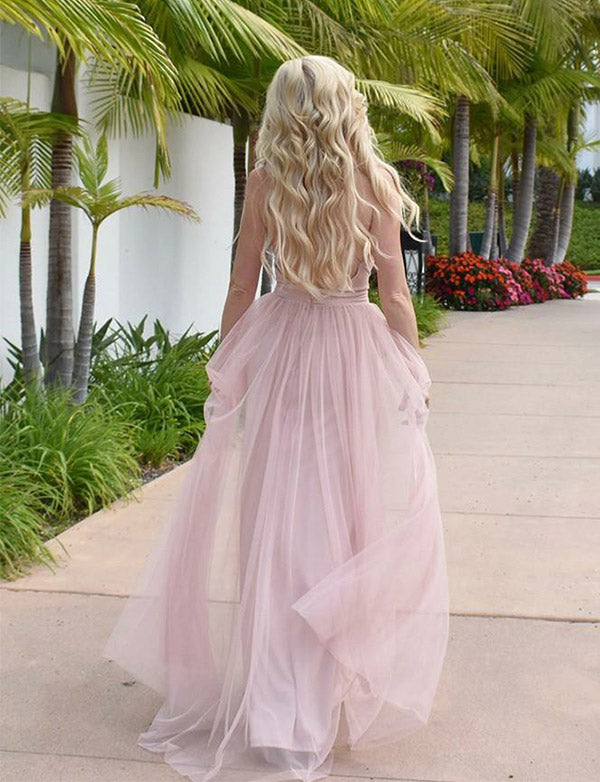 Simple V Neck Backless Party Dress A Line Sleeveless Long Pink Prom Dress - ericprom