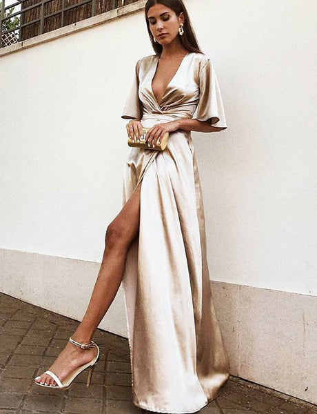 V-Neck Half Sleeves Floor-Length Champagne Prom Dress with Split
