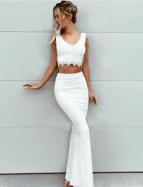 Two Piece V-Neck Floor-Length Satin Mermaid White Prom Dress with Appliques