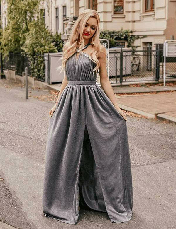 Simple Halter Floor Length Sleeveless Chiffon Grey Prom Dress with Split Keyhole - ericprom
