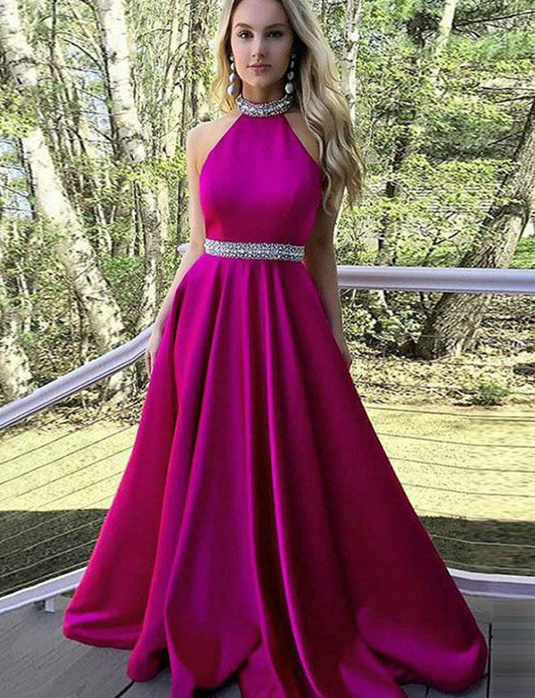 Beautiful Halter Fuchsia Satin Long Evening Dress with Beading Prom Dress - ericprom