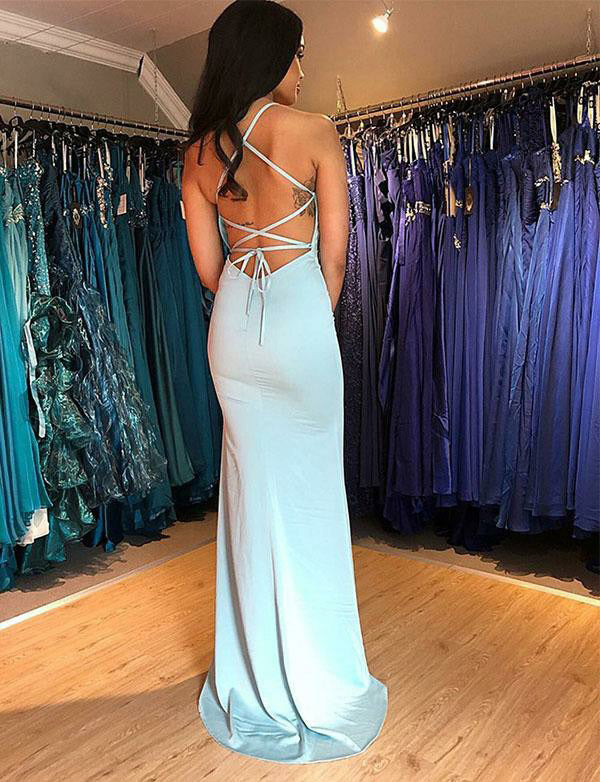 Sexy Spaghetti Straps Long Criss-Cross Straps Light Blue Prom Dress with Split - ericprom