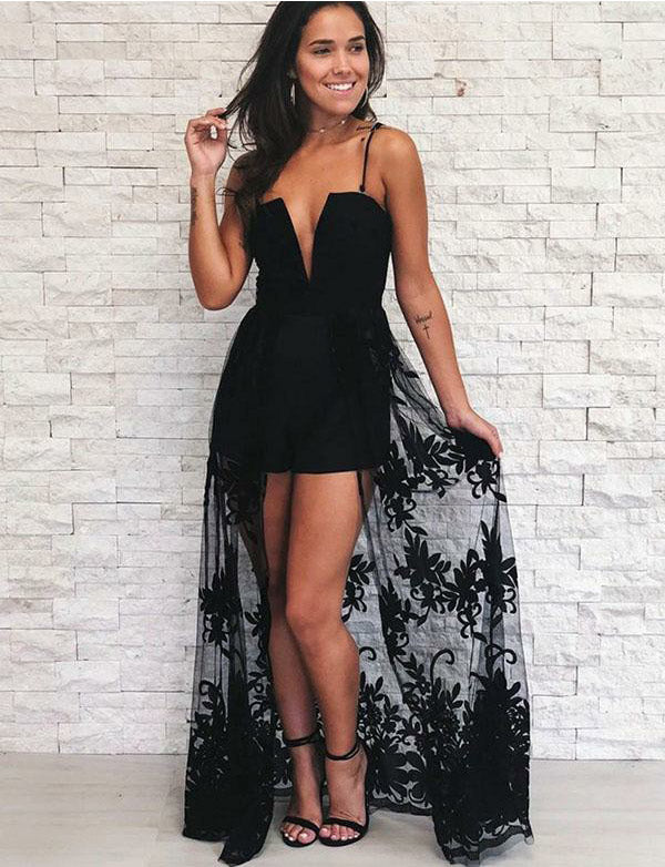 Amazing Spaghetti Straps Detachable Long Black Prom Jumpsuit with Appliques - ericprom