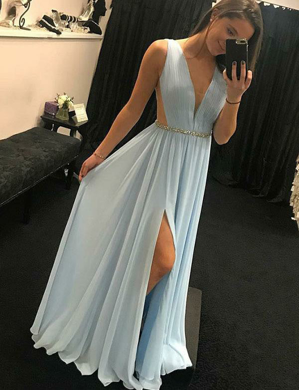 Simple Light Blue Prom Dress with Beading Split V-Neck Long Evening Dress - ericprom