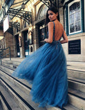 V-Neck Long Blue Prom Dress with Appliques Backless Beading Evening Dress