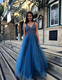 V-Neck Long Blue Prom Dress with Appliques Backless Beading Evening Dress - ericprom