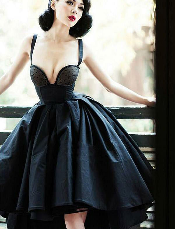 Stunning Straps Satin High Low Homecoming Dress Sleeveless Black Prom Dress - ericprom