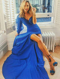 Charming Sheath One Shoulder Long Sleeves Chiffon Royal Blue Prom Dress - ericprom