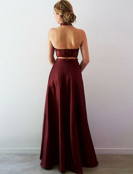 Halter Open Back Burgundy Prom Dress with Split Long Two Piece Prom Gown