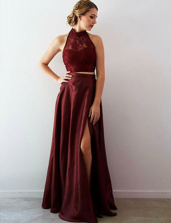 Halter Open Back Burgundy Prom Dress with Split Long Two Piece Prom Gown - ericprom