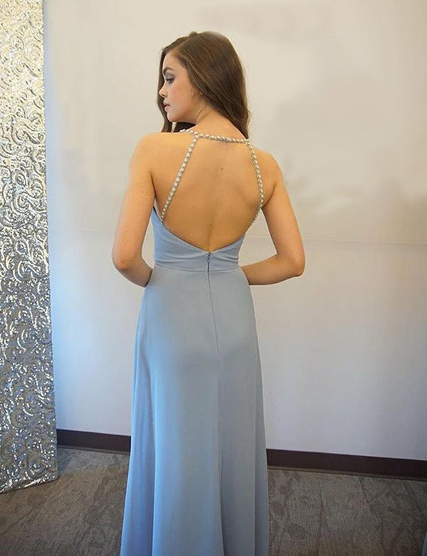 Spaghetti Straps Long Chiffon Open Back Light Blue Prom Dress with Beading - ericprom