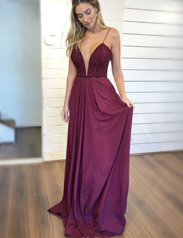Popular Spaghetti Straps Fuchsia Long Prom Dress with Beading Evening Gown - ericprom