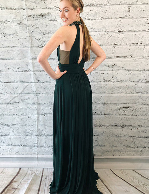 Chic Halter Open Back Long Dark Green Prom Dress with Beading Split Keyhole - ericprom