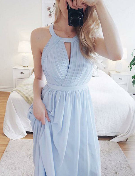 Unique A-Line Halter Open Back Chiffon Long Light Blue Prom Dress with Keyhole