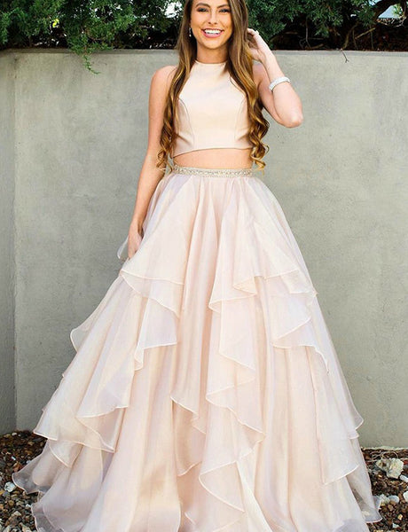 Pretty Two Piece Jewel Sleeveless Long Pink Prom Dress with Beading Tiered