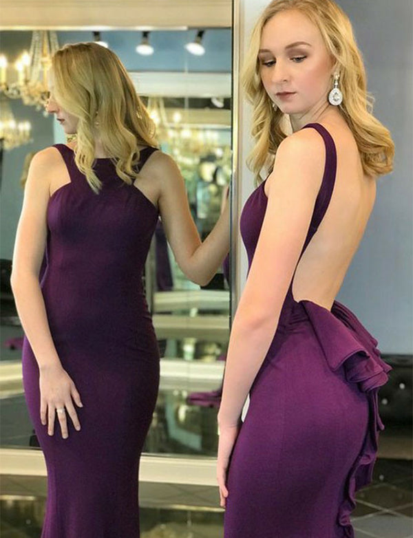 Fitted Mermaid Jewel Backless Prom Dress with Ruffles Purple Evening Dress - ericprom