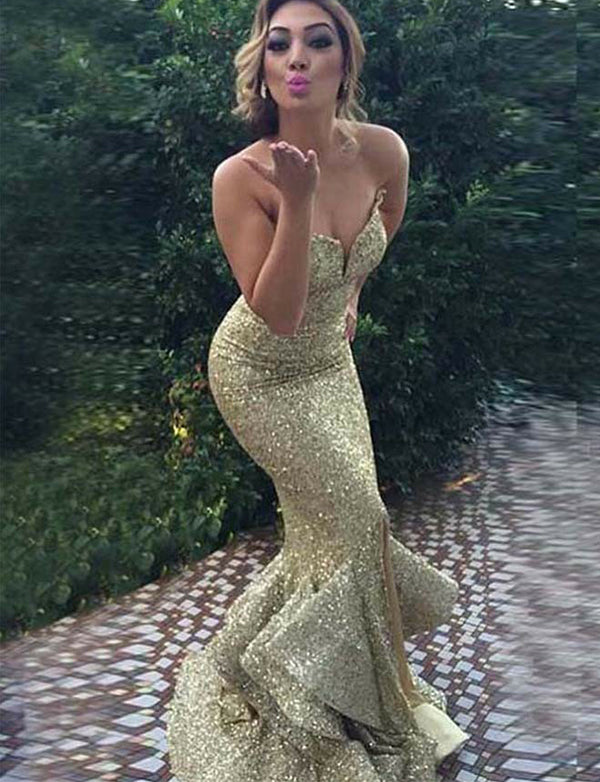 Amazing Mermaid Sweetheart Sequin Prom Dress Long Gold Evening Dress - ericprom