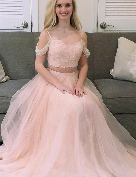 Classy Two Piece Spaghetti Straps Tulle A-Line Long Pink Prom Dress with Beading