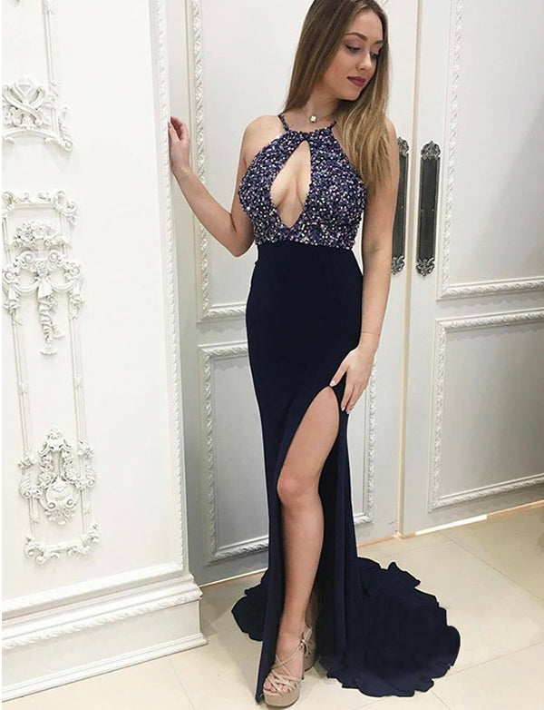 Sexy Sheath Halter Long Dark Navy Prom Dress with Beading Keyhole Split - ericprom