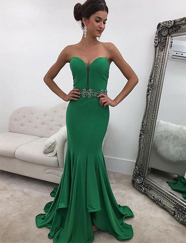 Elegant Sweetheart Mermaid Evening Dress with Beading Green Prom Dress - ericprom