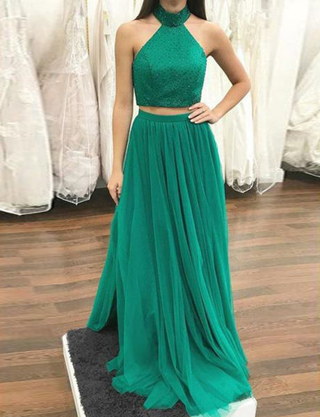 Simple Two Piece Halter Long Green Prom Dress with Sequin Prom Gown