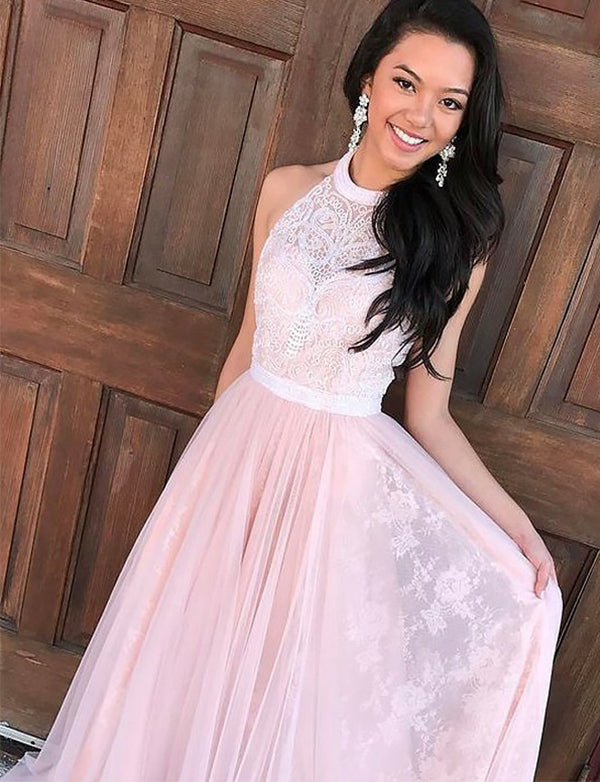 Elegant A-Line Halter Sleeveless Tulle Long Pink Prom Dress with Appliques - ericprom