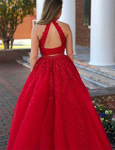 Beautiful Two Piece Halter Open Back Red Prom Dress with Appliques Beading